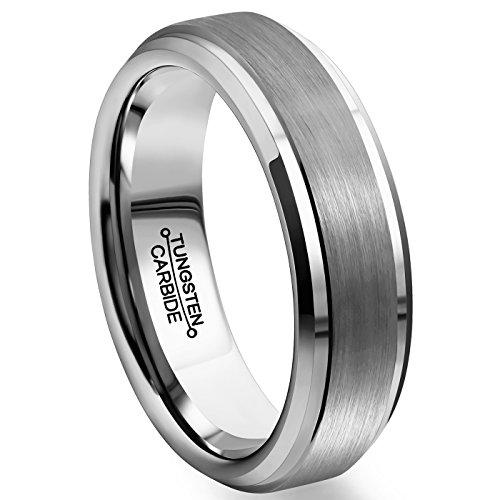 MNH+Men+Rings+6mm+Tungsten+Carbide+Brushed+Matte+Finish+Beveled+Edge+Comfort+Fit+Wedding+Engagement+Band