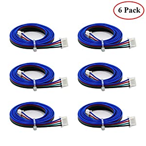 Bipolar Stepper Motor Cables 6Pcs 1000mm HONG111 Stepper XH2.54 Terminal Motor Link 4pin-6pin for NEMA 17 fit for Reprap 3D Printers CNC from HONG111