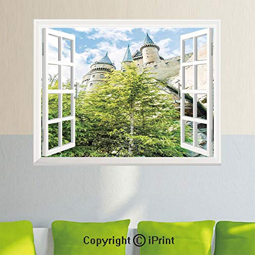 Fashion Wall Sticker,Witchcraft School and Wizard Castle in Woods Replica in Japan Picture Print,27.5x23.6inch,Fake Window Simulation Stickers,Home DecorGreen Blue Beige