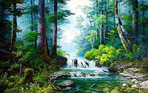 数字油絵 数字キット塗り絵 手塗り DIY絵 デジタル油絵 森の中の小川 40 x 50 cm (フレームレス)3ブラシホーム