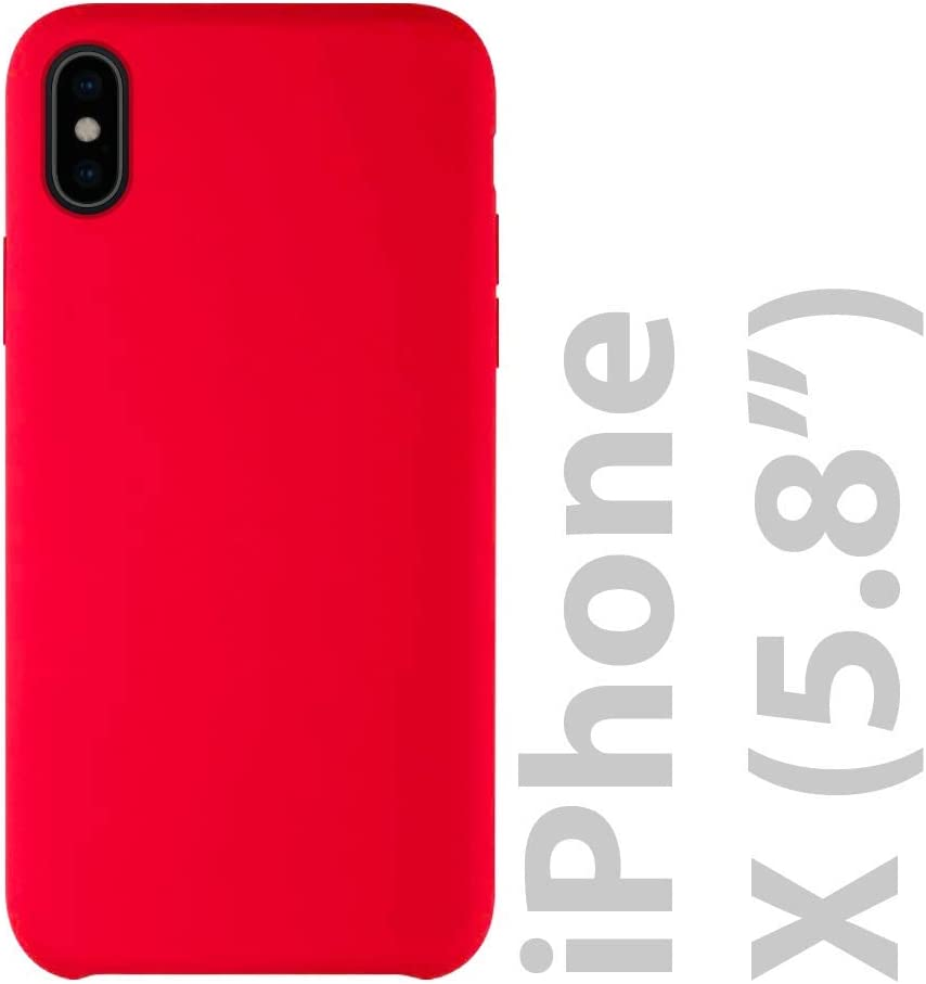 iATO iPhone X Red Silicone Case - Liquid Rubber Gel Premium Protective Snap on Thin Bumper - Slim Soft Anti Scratch Matte Finish Classy Back iPhone X Silicone Case | Supports Wireless Charging