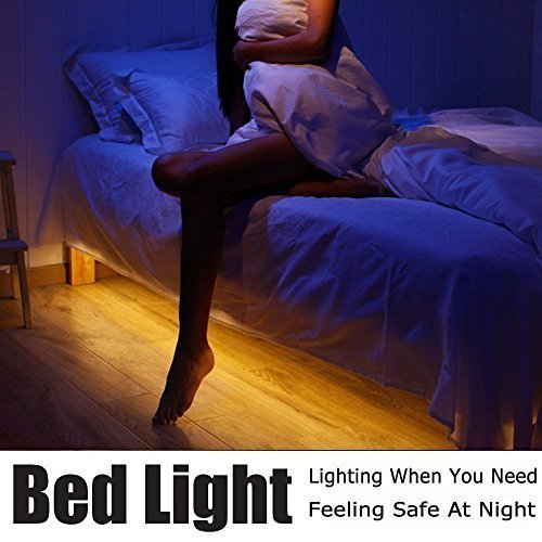 LED Bed Light, 6.3ft Motion Activated Flexible Strip Lights, Dual Sensor, Power Supply Included, Baby Crib Night Light, Under Cabinet, Under Bed, Hallway, Closet, Accent Lighting, Warm Glow