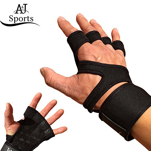 Workout Gloves with the Strongest Wrist Support ; Crossfit Gloves/Gym Gloves for Men and Women; Durable Neoprene with Extra Leather and Silicone Padding for Full Palm Protection (L, Open Back)