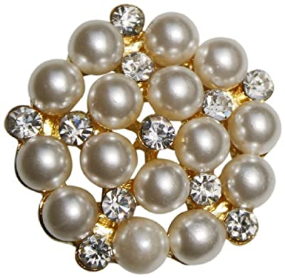 The Buckle Boutique Beautiful Pearl and Rhinestone Brooch Pin for Arts and Crafts, Gold Tone