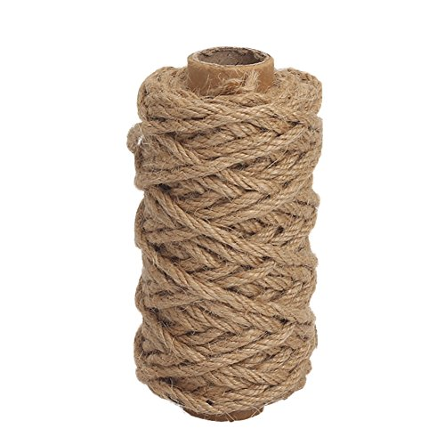Twin Rope - Tenn Well Strong Natural Jute Twine, 4mm Thick 66 Feet Long Jute String Rope Roll for Garden, Arts & Crafts, Home Decor, Packaging