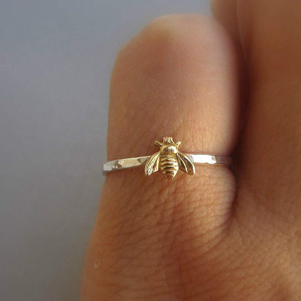 WoCoo Simple Tiny Solid Sterling Silver Bee Ring Gold Hammered Band Stacking Rings (Gold,Size 10)
