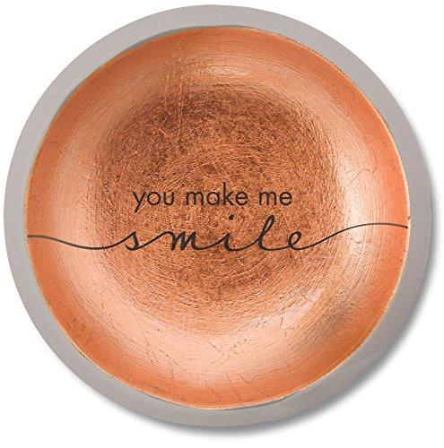 - Pavilion Gift Company 42127 You Make Me Smile Cement Keepsake Dish, 5