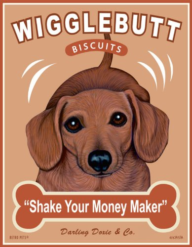 (Retro Pets - Dachshund Art - Wigglebutt Biscuits - 8x10 Art Print from the Treat Hounds Series - Ready to Frame)
