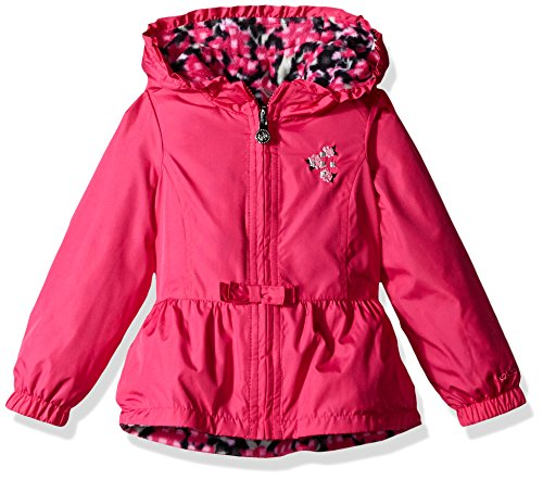 - London Fog Little Girls' Toddler Reversible Midweight Poly to Fleece Jacket, Fuchsia, 3T