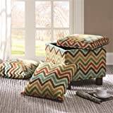 Madison Park FPF18-0240 Shelley Square Storage Ottoman with Pillows