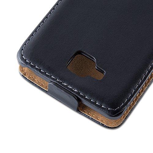 Cadorabo - Funda Flip Style para LG L9 II (2.Generación) de Cuero Sintético Liso - Etui Case Cover Carcasa Caja Protección en NEGRO-DE-CAVIAR