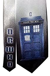 L@@K! Tardis Neck Tie - Dr Who Gallifrey Blue box Satin Tie Whovians LOOK!