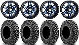 Bundle - 9 Items: STI HD7 14'' Wheels Blue/Black 30'' MotoVator Tires [4x110 Bolt Pattern 12mmx1.25 Lug Kit]