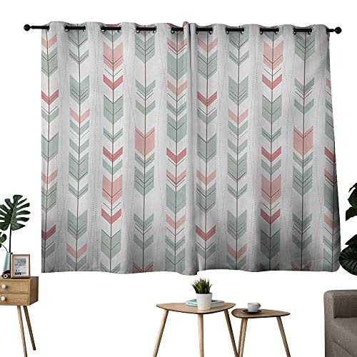 bedroom curtains 2 panel sets Geometric,Abstract Design with Chevron Triangles and Stripes Dots Modern Image,Pale Blue and Pink,Living Room and Bedroom Multicolor Printed Curtain sets 42