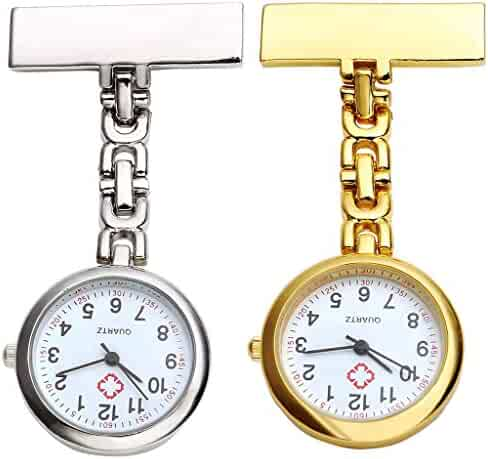 Top Plaza Pack of 2 Gold & Silver Nurse Fob Clip On Hanging Brooch Pocket Quartz Watches Simple Design