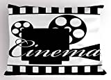 Ambesonne Movie Theater Pillow Sham, Monochrome Cinema Projector Inside a Strip Frame Abstract Geometric Pattern, Decorative Standard Queen Size Printed Pillowcase, 30 X 20 inches, Black White