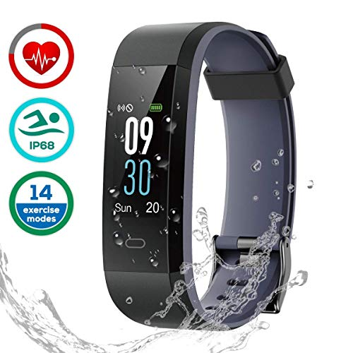 CHEREEKI Fitness Tracker [Latest Version], Color Screen Activity Tracker Smart Bracelet Waterproof IP68 Pedometer Watch 24-Hours Heart Rate Monitor/ 14 Sport Modes for Android & iOS (Black and Gray)