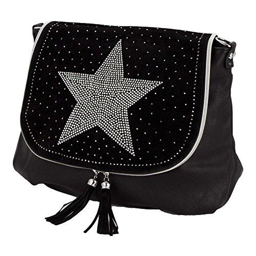 estrella purpurina BxHxT nbsp;cm XL Rosas nbsp;x nbsp;x negro Shopper 14 brillantes Rojo negro 45 bolso 30 6qEwYUEC