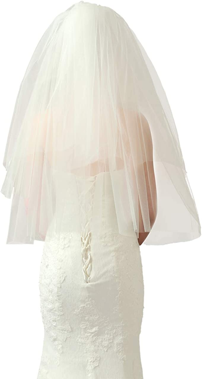 CHIC DIARY - Velo para vestido de novia, color beige, con peine, de doble capa, velo corto para bodas, despedidas de novias, disfraz de Halloween