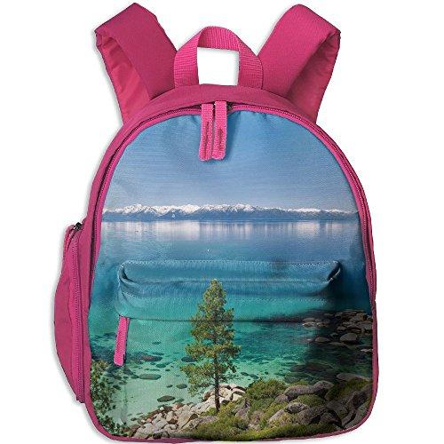 SarahKen Blue Tranquil View Of Lake Tahoe Sierra Pines On Rocks With Turquoise Waters Shoreline Children School Bagpack Pink 12.5