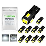 TUINCYN Extremely Bright 450 Lumens 5630 6SMD 168 194 2825 175 921 912 T10 W5W LED Bulbs Chipsets White Interior Dome Light Bulbs Backup Lights Trunk Side Marker Lights 2W 12V 6000K (Pack of 10)