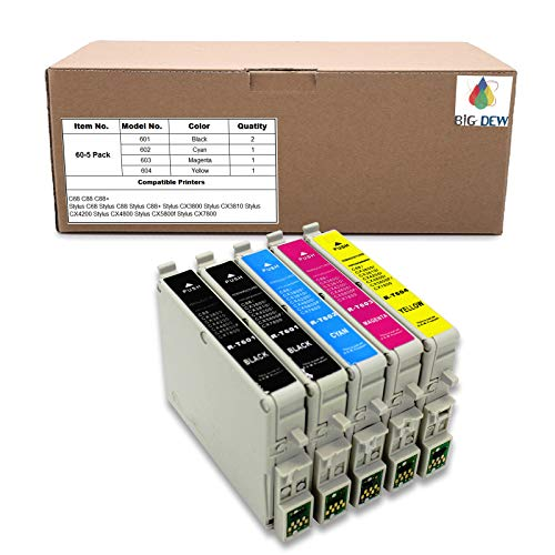 (Big Dew Remanufactured Ink Cartridge Replacement for Epson 60 T060 Ink Cartridge Use for Stylus C68 C88 C88+ CX3800 CX3810 CX4200 CX4800 CX5800f CX7800 (2B, 1C, 1M, 1Y, 5-Pack))