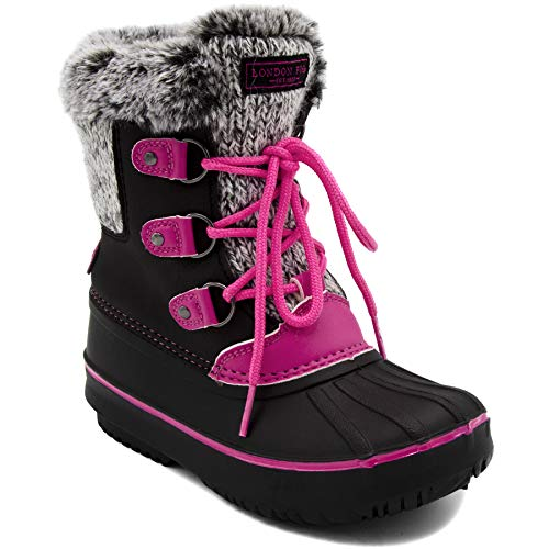 Price comparison product image London Fog Girls Tottenham Cold Weather Snow Boot BK/PK Size 2 Black/Pink