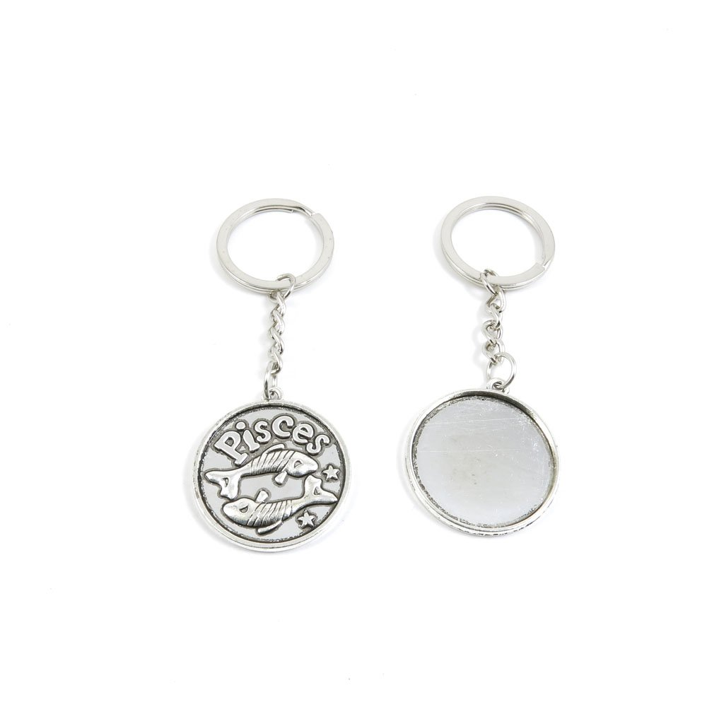 100 Pieces Keychain Door Car Key Chain Tags Keyring Ring Chain Keychain Supplies Antique Silver Tone Wholesale Bulk Lots U2VY6 Pisces Round Cabochon Base