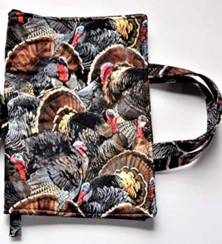 (Turkey Gobbles Quilted Large Paperback or Hardcover Book Cover up to 8.75