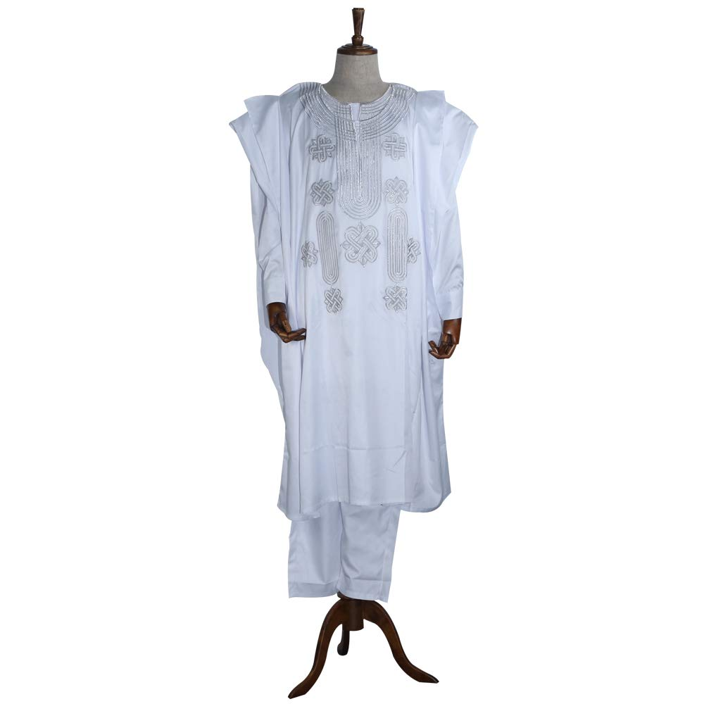 HD African Apparel Agbada Clothing Embroidery Dashiki Shirts and Pants African Men Outfits 3 Pieces, White 3XL