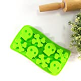 Always Your Chef 8 Cavities Skull Bone Shaped Silicone Candy Making Molds Chocolate Ice Cube Trays DIY Molds,Green