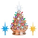 Best Choice Products 9.5in Pre-Lit Hand-Painted Ceramic Tabletop Artificial Christmas Tree Festive Holiday Decor w/Lights, 3 Star Toppers - Rose Gold
