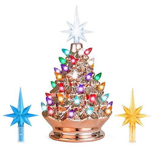 Best Choice Products 9.5in Pre-Lit Hand-Painted Ceramic Tabletop Christmas Tree w/Lights, 3 Star Toppers - Rose Gold ()