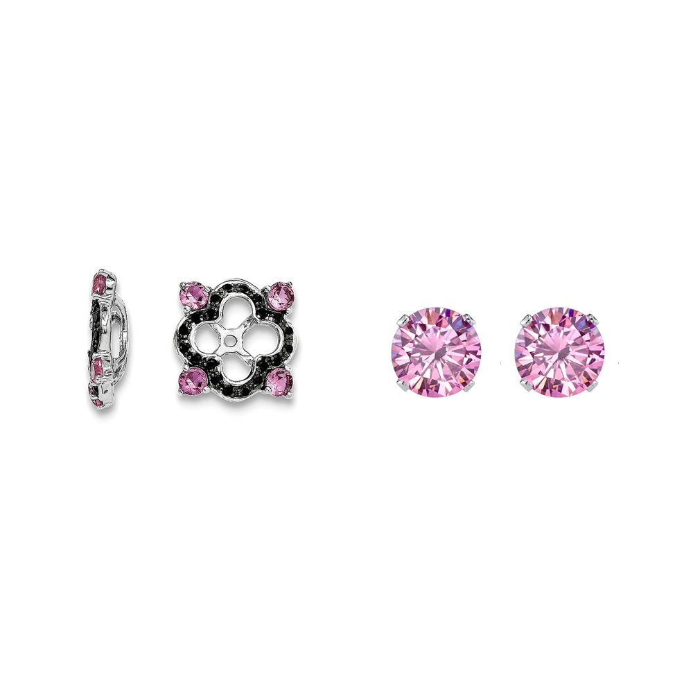 Sterling Silver Pink Simulated Sapphire, Black Simulated Sapphire Earring Jacket + 2mm Pink CZ Studs
