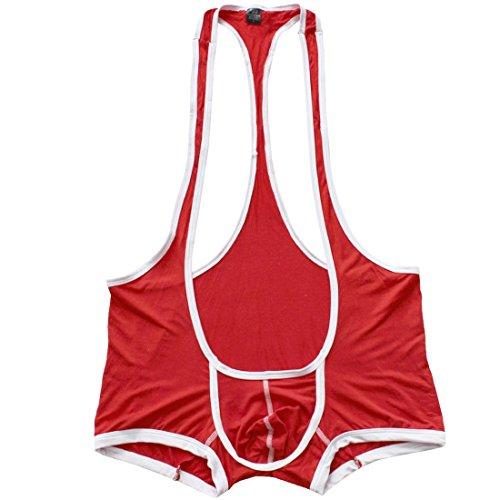 Freebily Men's Sexy Suspender Singlet Wrestling Bulge Pouch Leotard Bodysuit Boxer Briefs Underwear Red X-Large(Waist:33.0-50.0