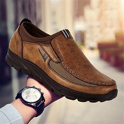Cuero Clásico Entrenadores Ocio WuXi Slip Mocasín Caminar Camello Mocasines Zapatos Plano Negocio Hombre Comodidad para On Respirable Zapatos q00tvA