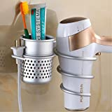 Aluminum Wall Mount Hair Dryer Drier Holder Rack Hair Air Blower Storage Organizer with 1 Cup for Kitchen Bathroom Bedroom Washroom