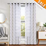 "large window treatments White Window Sheer Curtains Panels Drapes Window Curtains for Bedroom Embroidered Geometry Lattice Window Treatment Set for Living Room 63"" L 2 Panels"