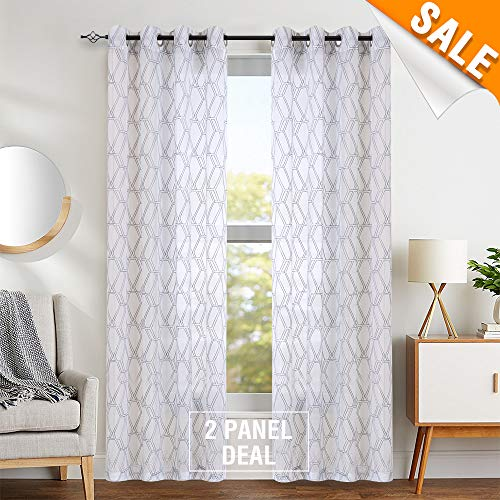 "White Window Sheer Curtains Panels Drapes Window Curtains for Bedroom Embroidered Geometry Lattice Window Treatment Set for Living Room 63"" L 2 Panels"