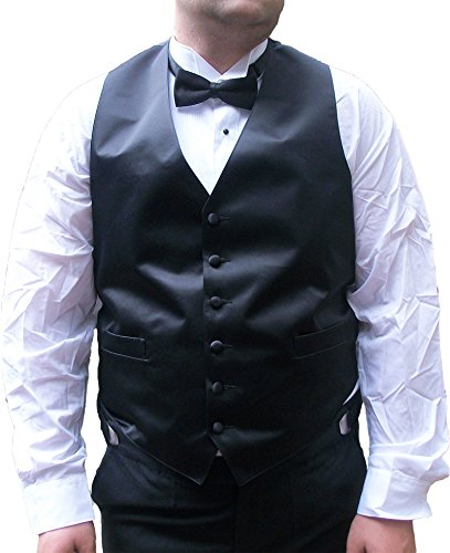 Black Full Back Tuxedo Vest - Broadway Tuxmakers Black Satin Tuxedo Vest, Mens, 6 Button, Full Back (Large (42-44))