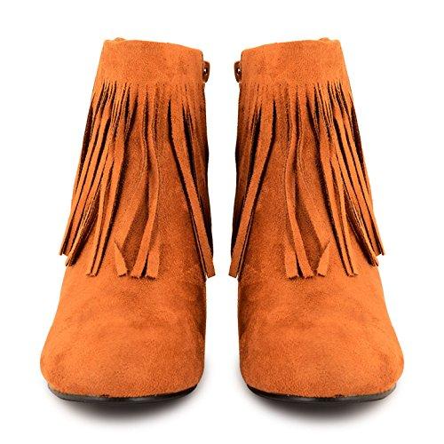 Womens Ladies Faux Suede tacón Borlas con cremallera tobillo botas zapatos talla Ante beige