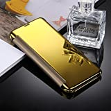 Samsung Galaxy S8 Mirror Flip Leather Case, Fone-Stuff® - Leather Style, Electroplating Mirror, Horizontal Flip Protective Cover with Smart Sleep/Wake Up Function - Gold