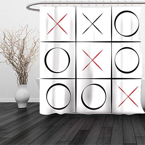 HAIXIA Shower Curtain Xo Tic Tac Toe Simplistic Pattern Vertical Horizontal Lines Illustration Vermilion Black White (Vermilion Wood Lighthouse)