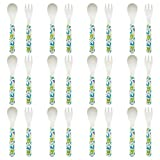Tiny Dining Children's Bamboo Fibre Dining Fork & Spoon Cutlery Set - Dinosaur - Pack of 12