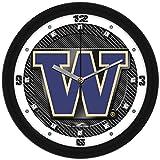 NCAA Washington Huskies Textured Carbon Fiber Wall Clock
