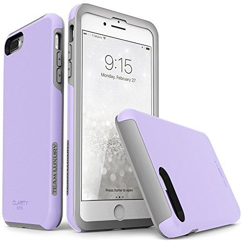 iPhone 7 Plus case, iPhone 8 Plus case, TEAM LUXURY [Clarity Series] Updated [G-II] Purple Ultra Defender TPU + PC Shock Absorbent Premium Case - for Apple iPhone 7 Plus & 8 Plus (Lavender/ Gray) Lavender Purple Iphone