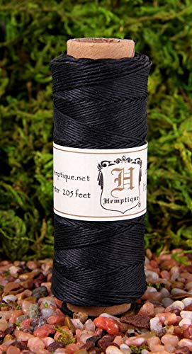 Hemptique 100% Natural Hemp Cord Single Spool - 205ft ~ 62.5m Hemp String Spool - Crafters Number 1 Choice - .5mm Cord Thread for Jewelry Making, Macramé, Scrapbooking, More - Black