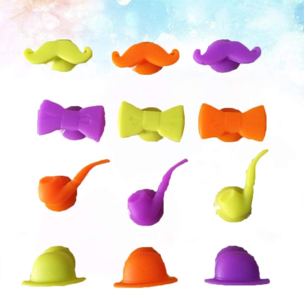 UPKOCH Marque Verres Silicone Ventouse Multicolor/é Noeud Papillon Barbe pour Anniversaire Party Soir/ée 12pcs