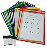 Dry Erase Pocket Sleeves with Markers, Pack of 12 Write and Wipe Folder Pockets, Large Size 10 x 14, Great for School and Work, Homeschool Supplies