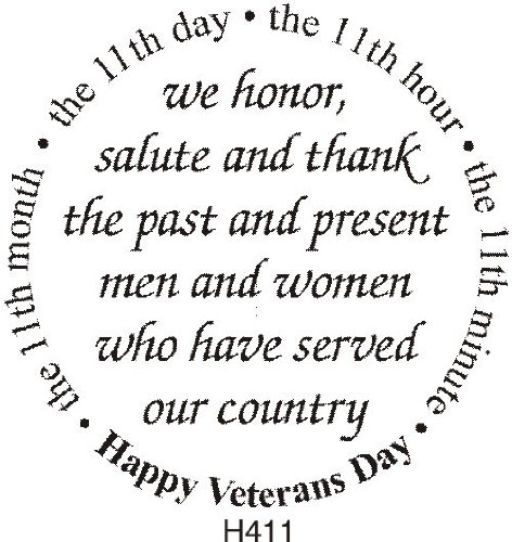 Veterans Day Greeting Rubber Stamp By DRS Designs